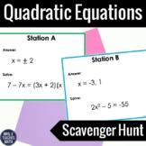 Quadratic Equations Scavenger Hunt