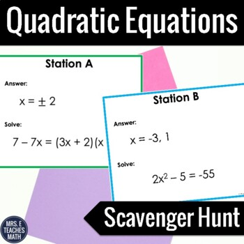 Quadratic Equations Scavenger Hunt