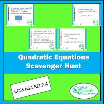 Algebra:  Quadratic Equations Scavenger Hunt
