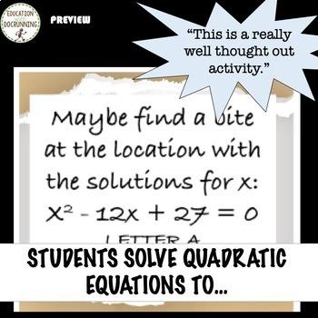 Quadratic Equations Math Detective Activity