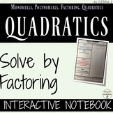 Factoring Quadratic Equations Color Coded Interactive Notebook