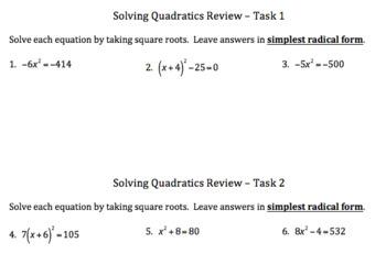 Quadratic Equations Task Activity