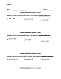 Quadratic Equations Task Activity