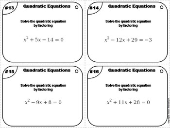 Solving Quadratic Equations Task Cards