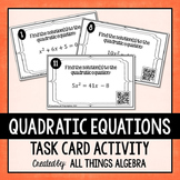 Quadratic Equations (Solve by Factoring) Task Cards