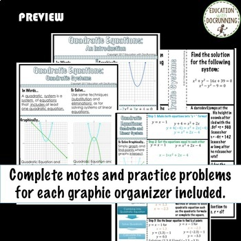 Quadratic Equations Bundle for Algebra 2 Curriculum Unit 4