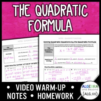 Quadratic Equations: The Quadratic Formula Lesson