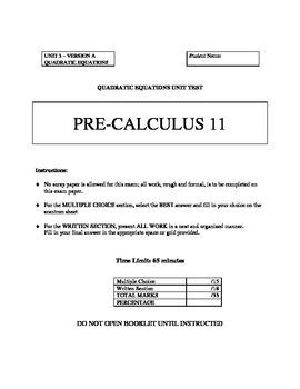 Quadratic Equations Unit Test with FULL SOLUTIONS