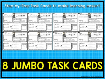 Quadratic Equations: Using the Quadratic Formula Jumbo Task Cards