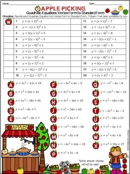 Writing Quadratic Equations: Vertex Form to Standard Form Practice