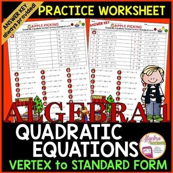 Writing Quadratic Equations: Vertex Form to Standard Form