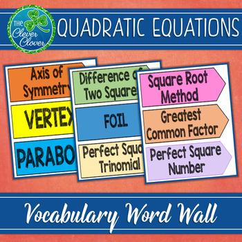 Quadratic Equations Vocabulary Word Wall