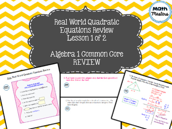 Quadratic Equations: Word Problems Review Lesson 1 of 2