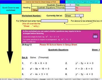 Quadratic Equations - Worksheets - Whiteboard