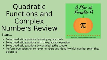 Quadratic Equations and Complex Numbers Review