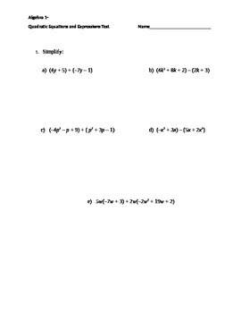 Quadratic Equations and Expressions Test