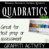 Quadratic Equations and Functions One Pager Graffiti activ