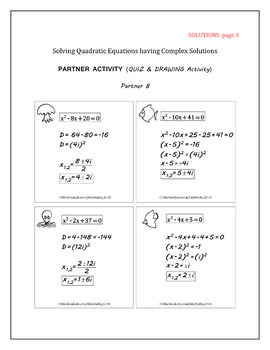 Quadratic Equations with Complex Solutions Partner Activity Quiz and Drawing