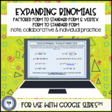 Quadratic Expand to Standard Form for use with Google Slid