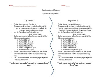 Quadratic/Exponential Function Project