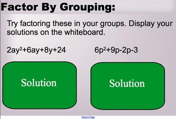Quadratic Expressions Lesson 3 - Common Factors and Factoring by Grouping