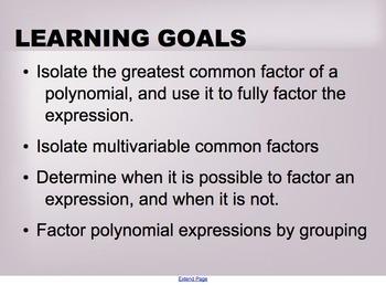 Quadratic Expressions Lesson 3 - Common Factors and Factor
