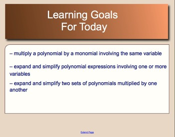 Quadratic Expressions Lesson 1 - The Distributive Property with Polynomials