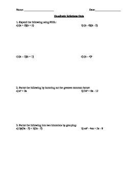 Quadratic Expressions Quiz with Answers