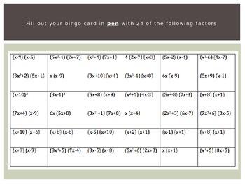 Quadratic Factoring BINGO