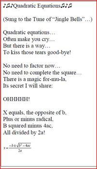 "Quadratic Formula 2012 - Song to the tune of ""Jingle Bells"""