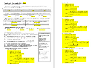 Quadratic Formula 2012 - with student notes and Answer Key (Editable)
