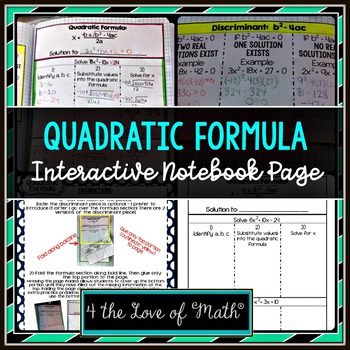 Quadratic Formula Interactive Notebook Page
