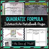 Quadratic Formula Interactive Notebook Page