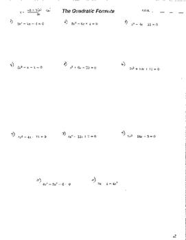 Quadratic Formula 3 sheets w/answers Quadratic Functions Equations Exact Value