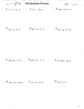 Quadratic Formula 3 sheets w/answers Quadratic Functions E