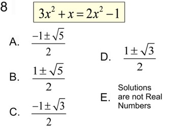 Quadratic Formula - 4 Intro's, 11 Assignments & a Reference for Power Point