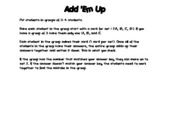 Quadratic Formula Add 'Em Up