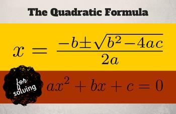 """Quadratic Formula - Classroom Poster 11"""" x 17"""""""