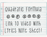 Quadratic Formula Cup Song Video Link and Lyrics!