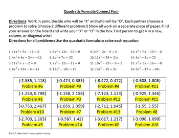 Quadratic Formula (Decimal Answers) Connect Four