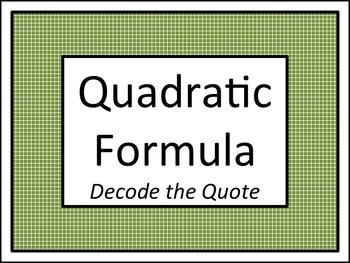 Quadratic Formula: Decode the Quote