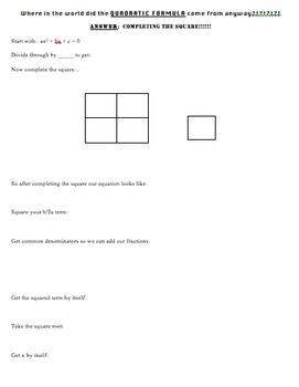 Quadratic Formula Derivation