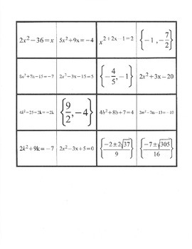 Quadratic Formula Domino Activity