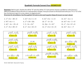 Quadratic Formula (Exact Value Answers) Connect Four