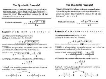Quadratic Formula Example