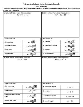 Quadratic Formula Fortune-Teller MASH Activity
