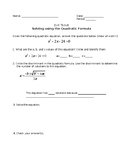 Quadratic Formula Guided Notes Worksheet and Exit Ticket