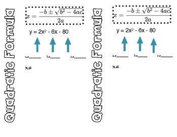 Quadratic Formula ISN Interactive Notebook Page