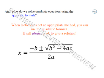 Quadratic Formula Lesson 1 of 2