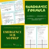 Quadratic Formula Lesson Handout Worksheet Full Answer Key